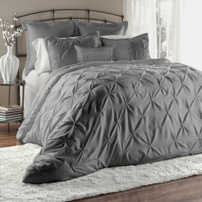 Byron 6 Piece Comforter Set Size: King, Color: Gray