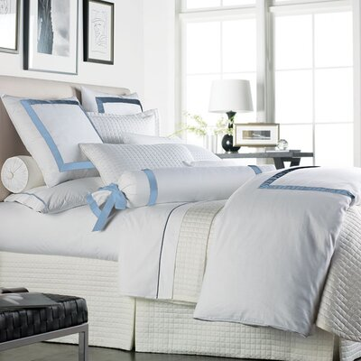 Chopin Duvet Cover Color: White / Soft Blue, Size: King