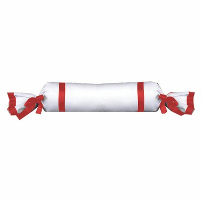 Chopin Cotton Bolster Pillow Color: White / Red