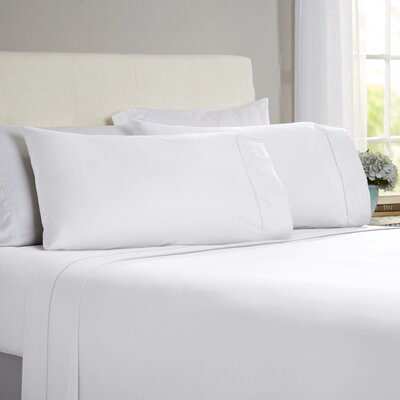 Hobbes 4 Piece 820 Thread Count Egyptian Quality Cotton Sheet Set Size: King, Color: White