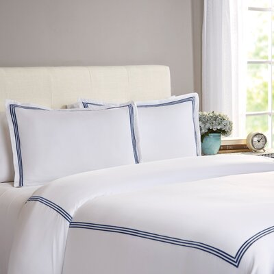 Miller 3 Piece Duvet Cover Set Size: Full / Queen, Color: Navy