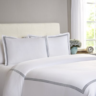 Cobbtown 300 Thread Count 100% Cotton Duvet Set Size: Full / Queen, Color: Silver Blue