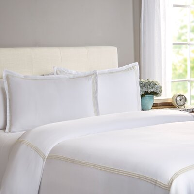 Cobbtown 300 Thread Count 100% Cotton Duvet Set Size: Full / Queen, Color: Ivory
