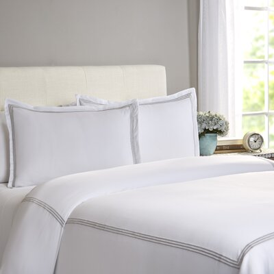 Cobbtown 300 Thread Count 100% Cotton Duvet Set Size: Full / Queen, Color: Light Gray