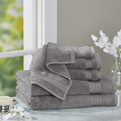 Clarke Cotton 6 Piece Towel Set Color: Pewter