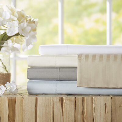 Milne 800 Thread Count Egyptian Quality Cotton Stripe Sheet Sets Color: Stone, Size: Queen