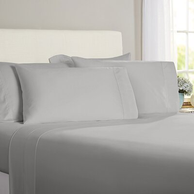 Austen Hemstitch 600 Thread Count 3 Piece Sheet Set Size: Queen, Color: Gray