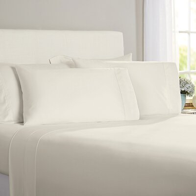 Austen Hemstitch 600 Thread Count 3 Piece Sheet Set Size: Cal King, Color: Ivory
