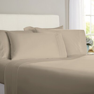 Austen Hemstitch 600 Thread Count 3 Piece Sheet Set Size: King, Color: Taupe