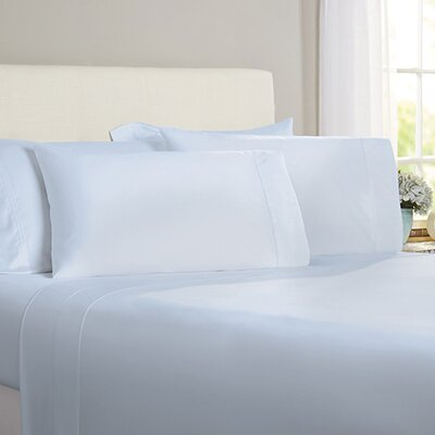 Austen Hemstitch 600 Thread Count 3 Piece Sheet Set Size: Cal King, Color: Light Blue