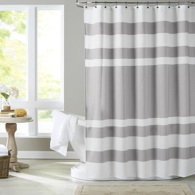 Malory Shower Curtain Color: White / Grey