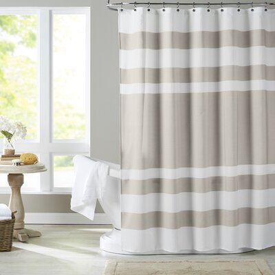 Malory Shower Curtain Color: White / Taupe