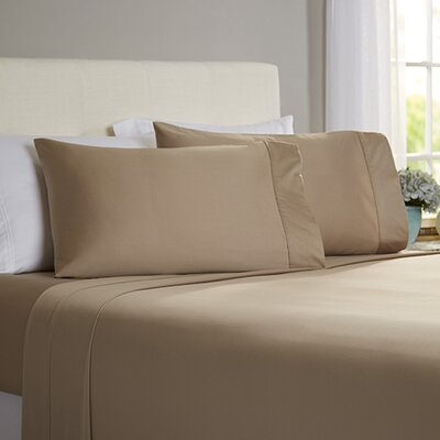 Poe 600 Thread Count Pima Solid Cotton Sheet Set Size: Queen, Color: Stone