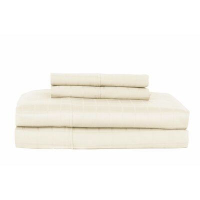 Hobbes 4 Piece 450 Thread Count Egyptian Quality Cotton Sheet Set Color: Ivory, Size: King