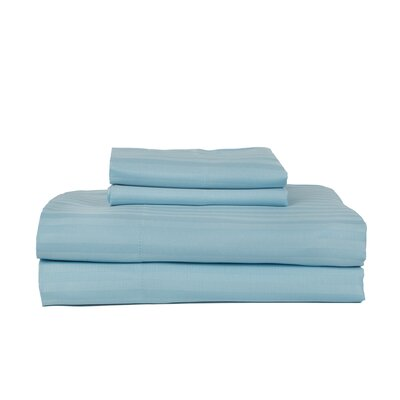 Hobbes 4 Piece 340 Thread Count Cotton Rich Sateen Sheet Set Color: Aquamarine, Size: King