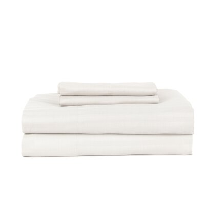 Hobbes 4 Piece 340 Thread Count Cotton Rich Sateen Sheet Set Size: King, Color: White
