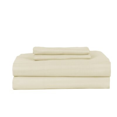 Hobbes 4 Piece 340 Thread Count Cotton Rich Sateen Sheet Set Size: King, Color: Ivory