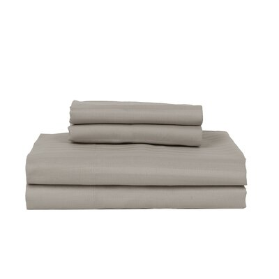 Hobbes 4 Piece 340 Thread Count Cotton Rich Sateen Sheet Set Size: King, Color: Stone