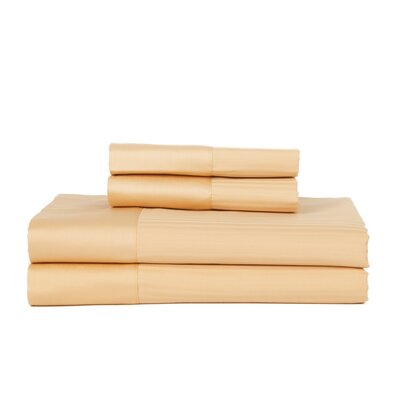 Hobbes 4 Piece 540 Thread Count Egyptian Quality Cotton Sheet Set Size: Full, Color: Gold