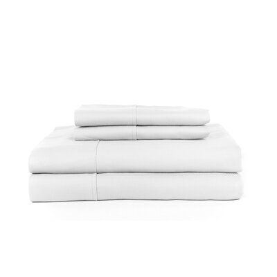 Hobbes 4 Piece 620 Thread Count Egyptian Quality Cotton Sheet Set Size: King, Color: White