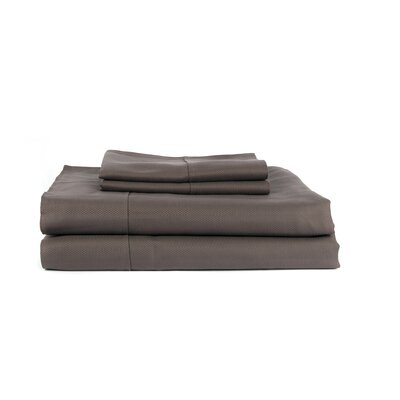 Hobbes 4 Piece 620 Thread Count Egyptian Quality Cotton Sheet Set Color: Grey, Size: King
