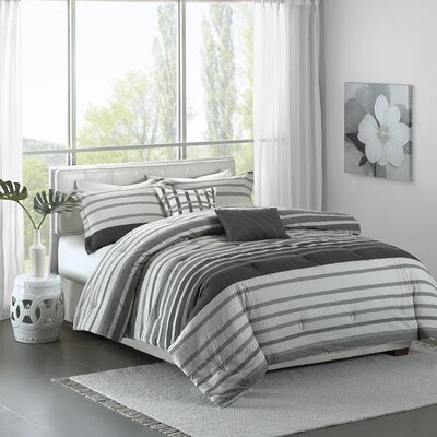 Marquez 5 Piece Comforter Set Color: Gray, Size: King / California King