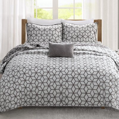 Bronte 4 Piece Coverlet Set Size: King / California  King, Color: Deep Grey
