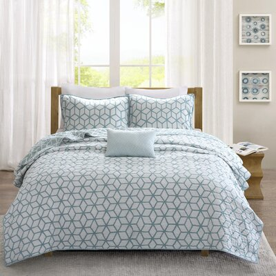 Bronte 4 Piece Coverlet Set Size: Full / Queen, Color: Dusty Aqua