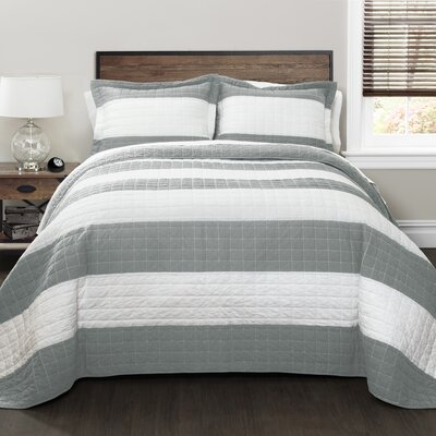 Hamilton 100% Cotton Quilt Set Size: King, Color: Gray/White