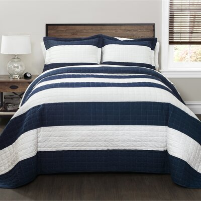 Hamilton 100% Cotton Quilt Set Size: King, Color: Navy/White