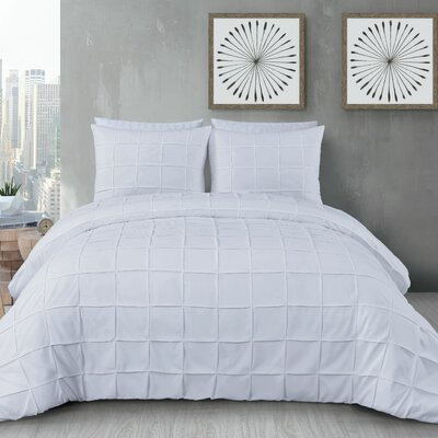 Diderot 3 Piece Duvet Set Size: King, Color: White