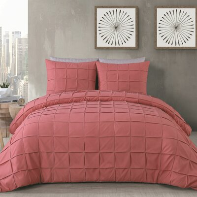 Diderot 3 Piece Duvet Set Size: King, Color: Coral