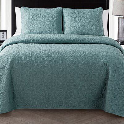 London Quilt Set Color: Blue Sage, Size: King