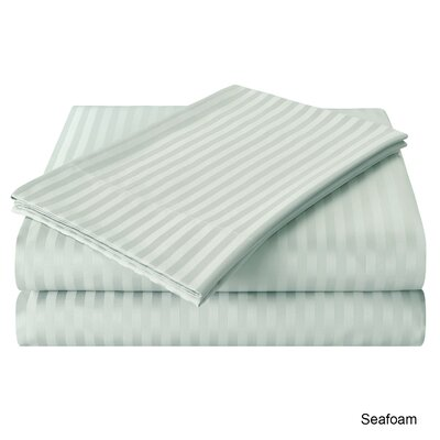 Milne 800 Thread Count Egyptian Quality Cotton Stripe Sheet Sets Size: King, Color: Seafoam