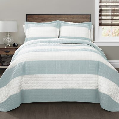 Hamilton Quilt Set Size: Full Queen, Color: Blue/White