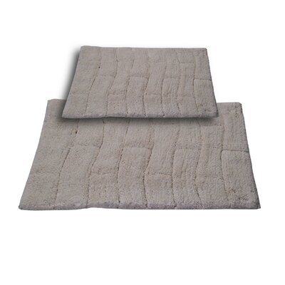 Brooks 2 Piece 100% Cotton New Tile Spray Latex Bath Rug Set Color: Ivory, Size: 24 H X 17 W and 40 H X 24 W