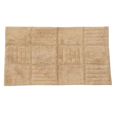 Conrad 100% Cotton Chakkar Board Spray Latex Back Bath Rug Color: Natural, Size: 40 H X 24 W