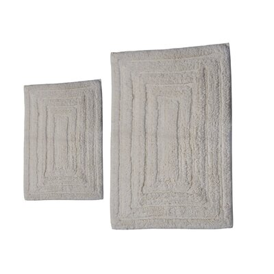 Irving 2 Piece 100% Cotton Racetrack Spray Latex Bath Rug Set Size: 24 H X 17 W and 34 H X 21 W, Color: Ivory