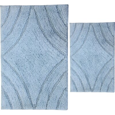 Barnes 2 Piece 100% Cotton Diamond Spray Latex Bath Rug Set Color: Light Blue, Size: 24 H X 17 W and 40 H X 24 W