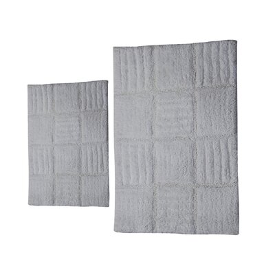 Conrad 2 Piece 100% Cotton Chakkar Board Spray Latex Bath Rug Set Size: 34 H X 21 W and 40 H X 24 W, Color: White