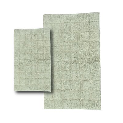 Tanner 2 Piece 100% Cotton Summer Tile Spray Latex Bath Rug Set Size: 24 H X 17 W and 30 H X 20 W, Color: Light Sage