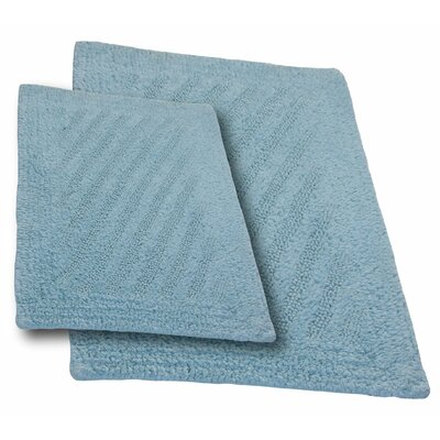 Verne 2 Piece 100% Cotton Shooting Star Reversible Bath Rug Set Size: 24 H X 17 W and 40 H X 24 W, Color: Light Blue