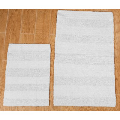 Verne 2 Piece 100% Cotton Wide Cut Reversible Bath Rug Set Color: White, Size: 24 H X 17 W and 34 H X 21 W