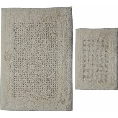 Grahame 2 Piece 100% Cotton Naples Spray Latex Bath Rug Set Size: 24 H X 17 W and 34 H X 21 W, Color: Ivory