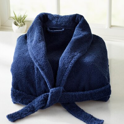 Burroughs Turkish Cotton Kimono Bathrobe Color: Navy Blue