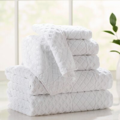 Flanagan 6-Piece Diamond Turkish Cotton Towel Set Color: White