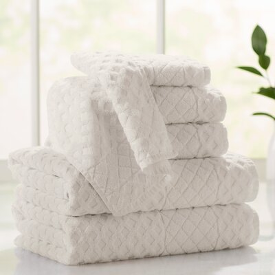 Flanagan 6-Piece Diamond Turkish Cotton Towel Set Color: Cream