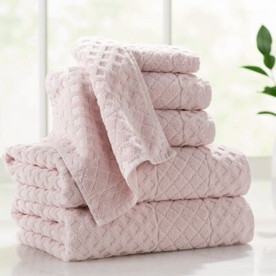 Flanagan 6-Piece Diamond Turkish Cotton Towel Set Color: Peach