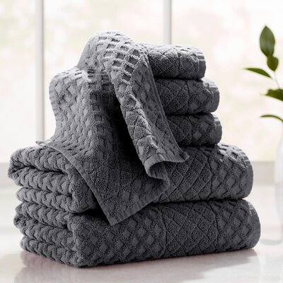 Flanagan 6-Piece Diamond Turkish Cotton Towel Set Color: Anthracite