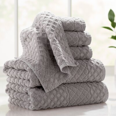 Flanagan 6-Piece Diamond Turkish Cotton Towel Set Color: Sand